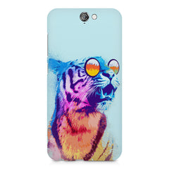 A funny, colourful yet cool portrait of a tiger wearing reflectors. HTC One A9 hard plastic printed back cover