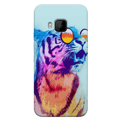 A funny, colourful yet cool portrait of a tiger wearing reflectors. HTC one M9 hard plastic printed back cover