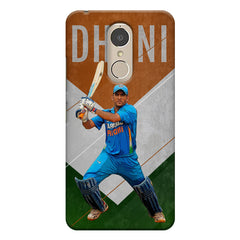 M.S Dhoni Batting with an Indian flag in  the background  Lenovo k6 note hard plastic printed back cover