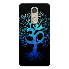 A beautiful blue tree with Om inscribed Lenovo k6 note hard plastic printed back cover