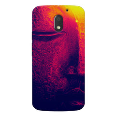 Half red face sculpture  Moto E3 printed back cover