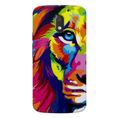 Colourfully Painted Lion design,  Moto E3 printed back cover