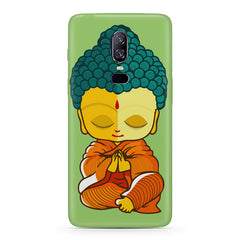 Miniature Buddha Caricature Oneplus 6(Six) hard plastic all side printed back cover.
