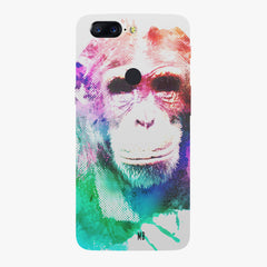 Colourful Monkey portrait Oneplus 5T hard plastic printed back cover
