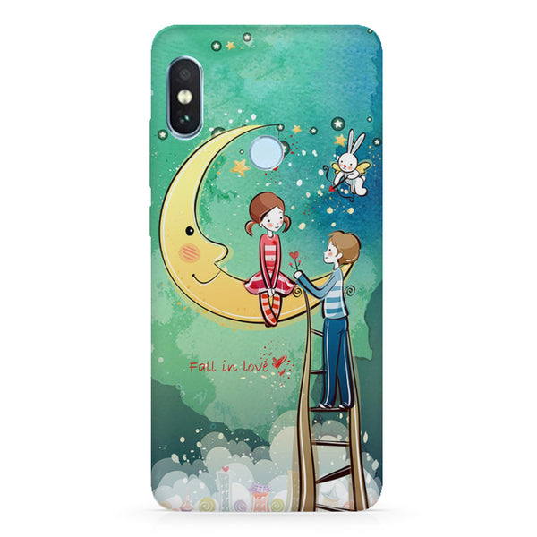 Couple on the moon, Fall in Love sketch design Xiaomi Mi A2 LIte/6 Pro hard plastic printed back cover