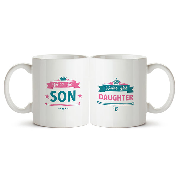 Worlds best son and worlds best daughter. Gifts for your children Printed Coffee Mugs