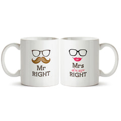 Mr. Right and Mrs. Right- couple designs for the best couples. Printed Coffee Mugs