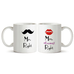 Mr. right and Mrs. always right. Funny couple gifts for both him and her. Anniversary gifts Printed Coffee Mugs