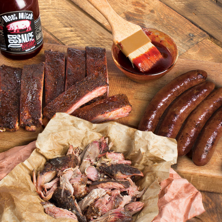 Smoked Sausage, Ribs & Pulled Pork - Three Little Pigs