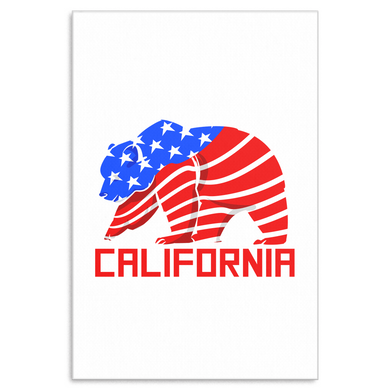 Grizzly Bear California USA American Flag Canvas Art