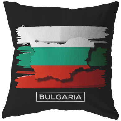 Bulgaria Eastern Europe Map, Black Sea Balkans Flag Pillow