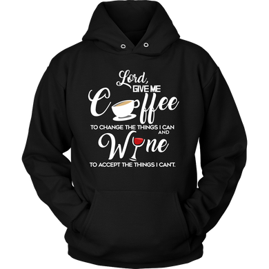 Drinking Hoodie - Give me coffee and wine funny quote