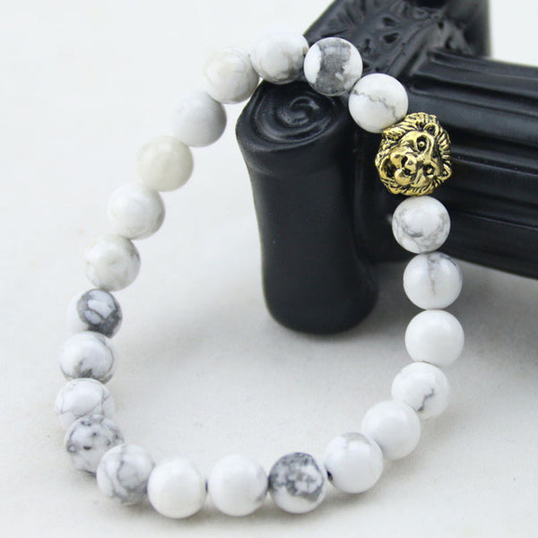 8mm Natural White Howlite Stone Gold Lion Head Bracelets