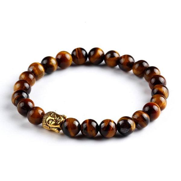 Gold Buddha head charm and natural beads bracelets
