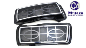 Mutazu Dual Double 6x9 Speaker Lids w/ metal Grills for Harley Touring 1994-2013