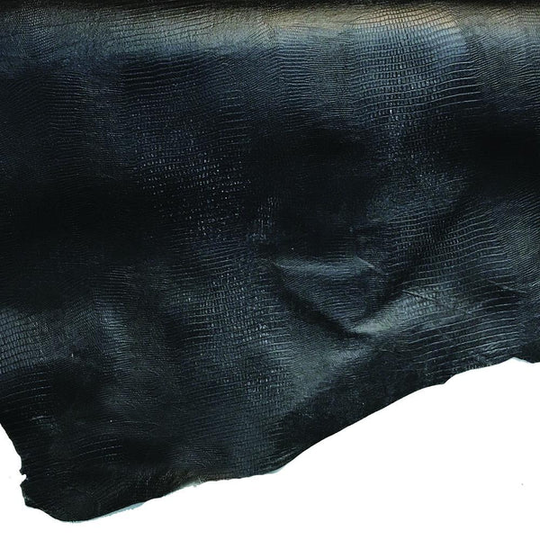 Lizard Print Black Lining Leather Hide - 2 oz Cowhide Split - 8-13 Square Feet - Deer Shack