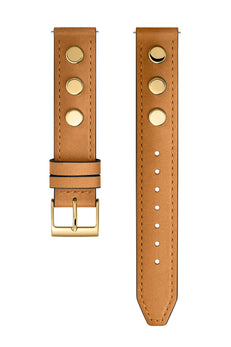 Gold Tone Biker Stud Leather Guitar Strap, 16MM