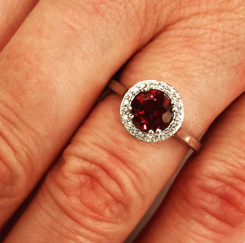 Garnet, Diamond Halo & 14K Gold Ring