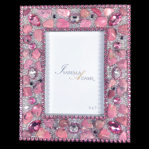 5 x 7 Picture Frame Featuring Rose Swarovski © Crystals and Polished Gemstones