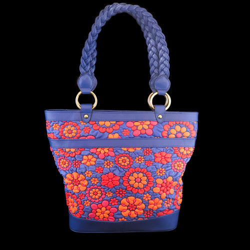 Red and Blue Floral Embossed Leather Shopper Bag