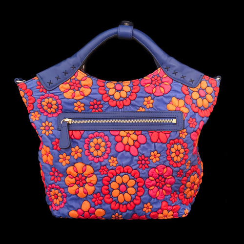 Red and Blue Floral Embossed Leather Roxxy Bag