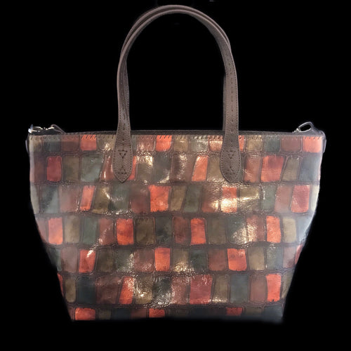 Croco Embossed Patched Leather Travel Tote Bag