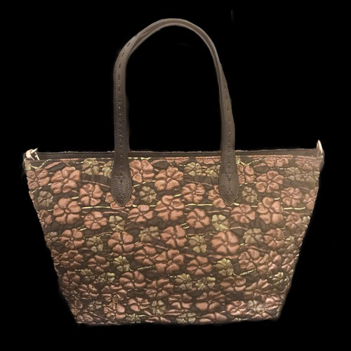 Bronze and Green Floral Embossed Leather Travel Tote Bag