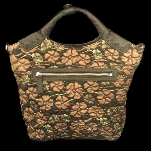 Bronze and Green Floral Embossed Leather Roxxy Bag