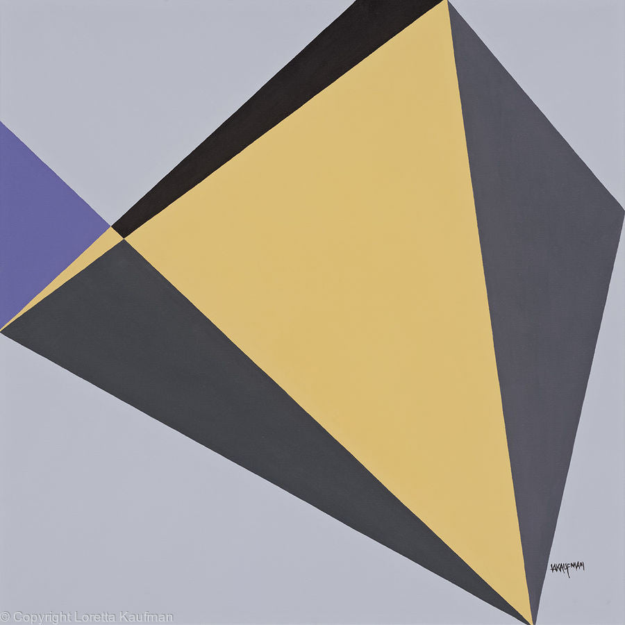 Heron & Bluegill: Circle of Life Series; yellow and gray geometric painting by Loretta Kaufman