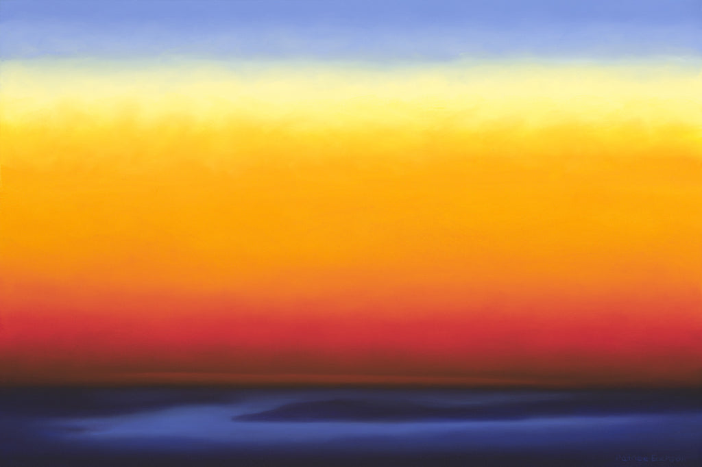 Abstracted sunset with stripes of red, orange and blue by Patrice Erickson.