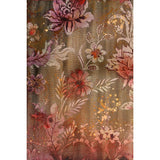 Mixed media tapestry with ornamental floral design in reds, golds and pinks. Original art for sale by ADC Fine Art.