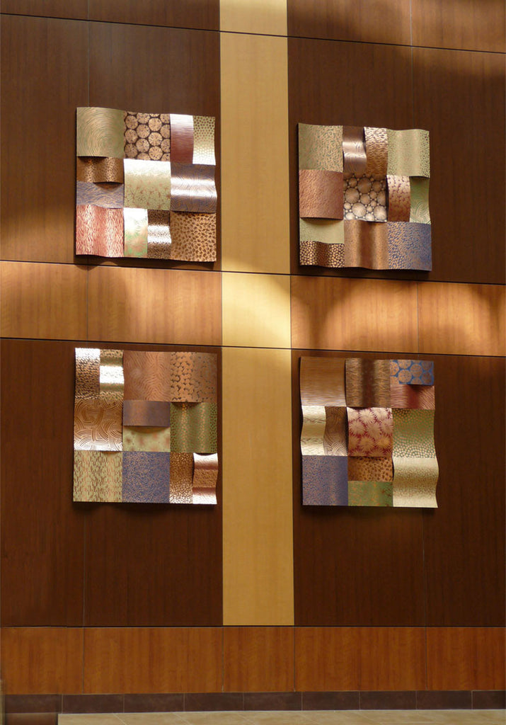 "Patterns of Nature Large Wave Columns / 10' x 10' x 4"" / copper wood, patina"