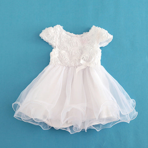 Baby Girl White Floral Princess Short Sleeve Christening Dresses - CheckaBaby
