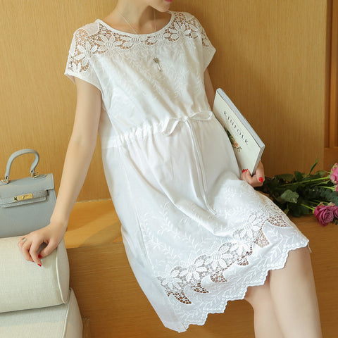 Maternity Dresses Fashion Summer New Arrival Hollow Lace White Dress for Pregnant Pregnancy Loose Temperament Plus Size Clothes - CheckaBaby