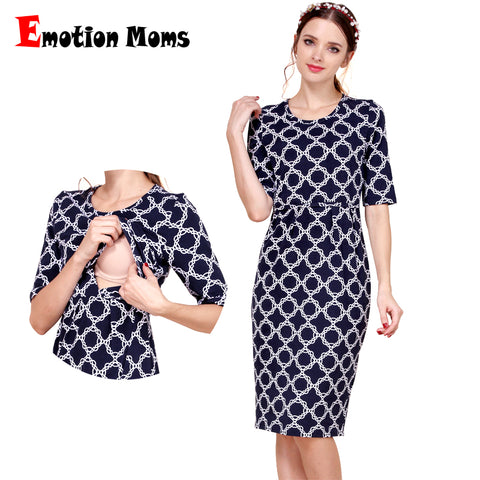 Emotion Moms New Cotton  Party Maternity Dress with Breastfeeding - CheckaBaby