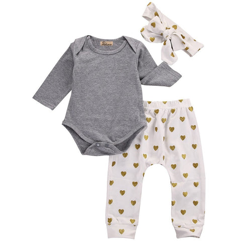 3pcs Newborn Infant Baby Girls Clothes Long Sleeve Gray Bodysuit Tops+Heart Pants Leggings Headband Outfit Set - CheckaBaby