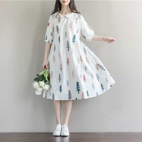 Maternity Dresses for Pregnant Women Fashion Doll Collar Print Cotton Linen Losse Casual Pregnancy Dress - CheckaBaby