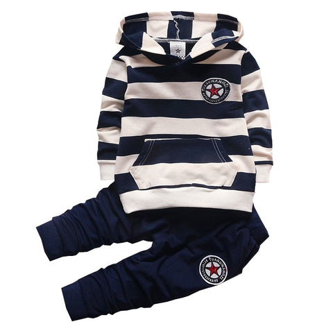 BibiCola Baby Boy Clothing Set Bebe Sports Set Kid Hoodies+Pants Suit Set Striped Tracksuit - CheckaBaby