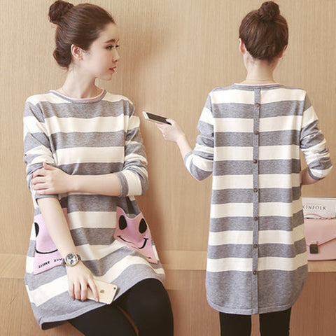 Maternity Dresses Fashion Striped Dress Long Sleeved Maternity Clothes For Pregnant Woman Pregnancy Clothes - CheckaBaby
