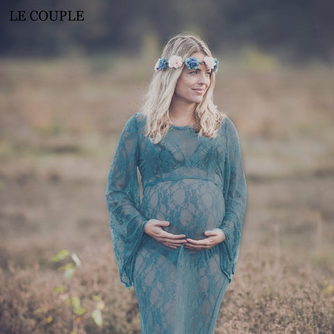 Le Couple Maternity Dresses  O-neck Lace M Long Dress For Pregnant Women - CheckaBaby