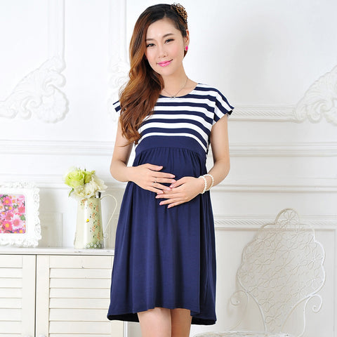 Maternity dress casual cotton maternity clothes plus size ledies stripe Pregnant dresses - CheckaBaby