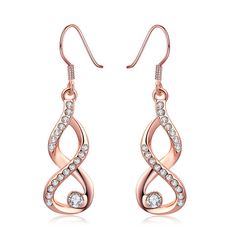 18K Rose Gold Plated Infinity Drop Earrings - CheckaBaby