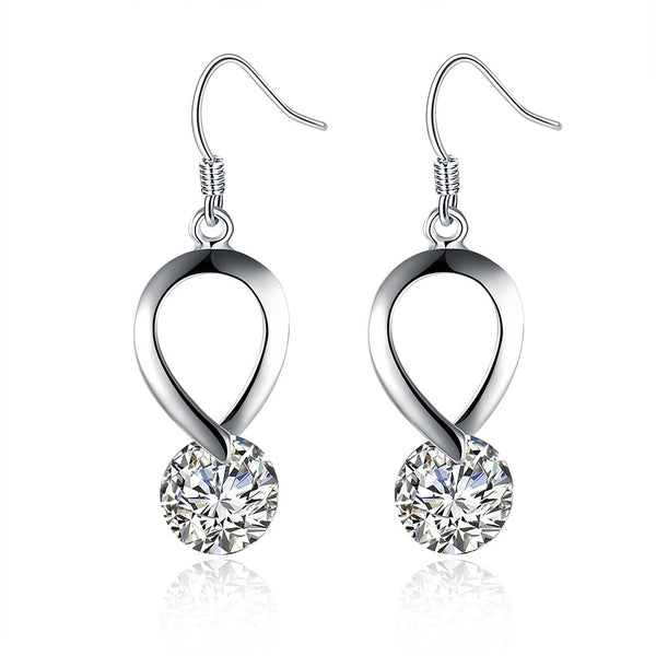 18K White Gold Plated Crystal Loop Earring - CheckaBaby