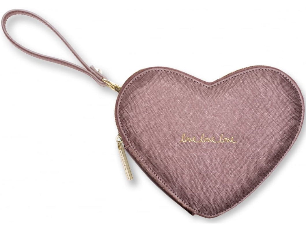 Katie Loxton Love Heart Shaped Pouch ~ Rose Pewter