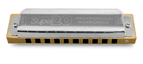 Hering 8020D Super 20 Diatonic Harmonica Stainless Steel and Gold Plastic Key of D