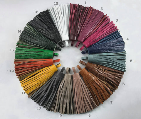 1pc, 100mm Genuine Leather Tassel - Choose Your Colour