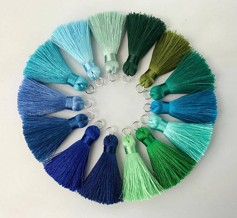 2pcs, 40mm Beautiful Silk Tassel With Silver Jump Ring In Blue And Green Shades