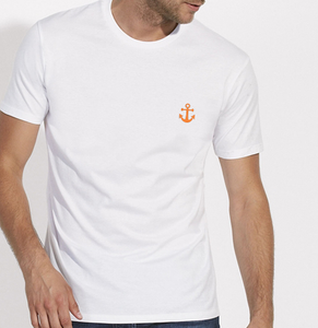 T-Shirt Ancre orange blanc homme galette complete png