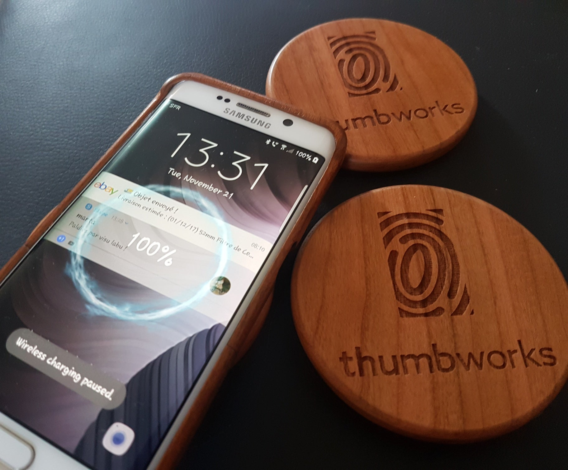 SUNFLOWER Wood Wireless QI Charging Pad