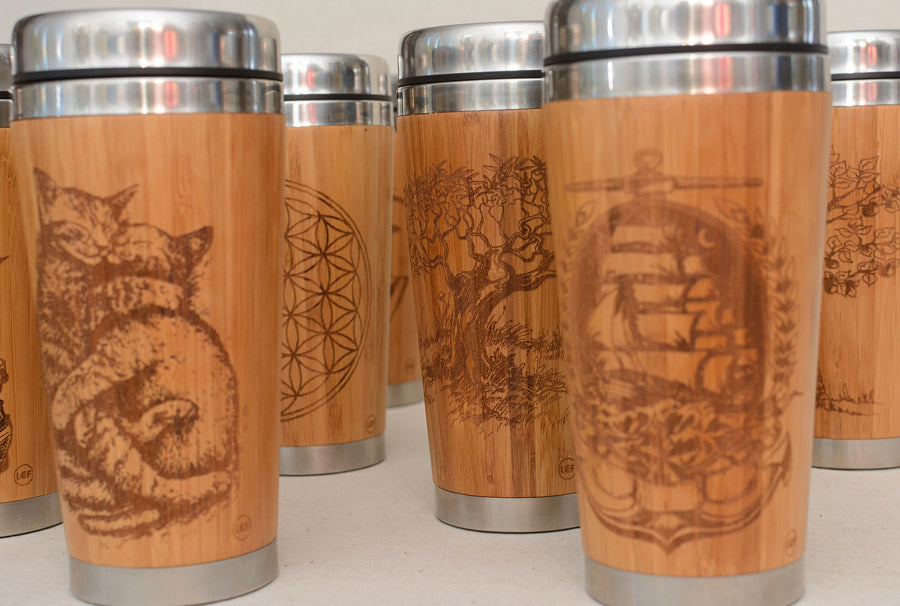 Mushroom AMANITA Engraved Wooden Travel Mug Tumbler